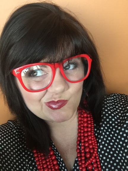 polka red glasses